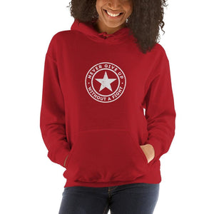 Womens Never Give up Without a Fight Hoodie Sweatshirt - S / Red - Sweatshirts
