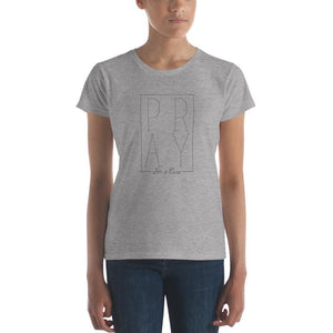 Womens Pray for a Cure Christian T-Shirt - S / Heather Grey - T-Shirts