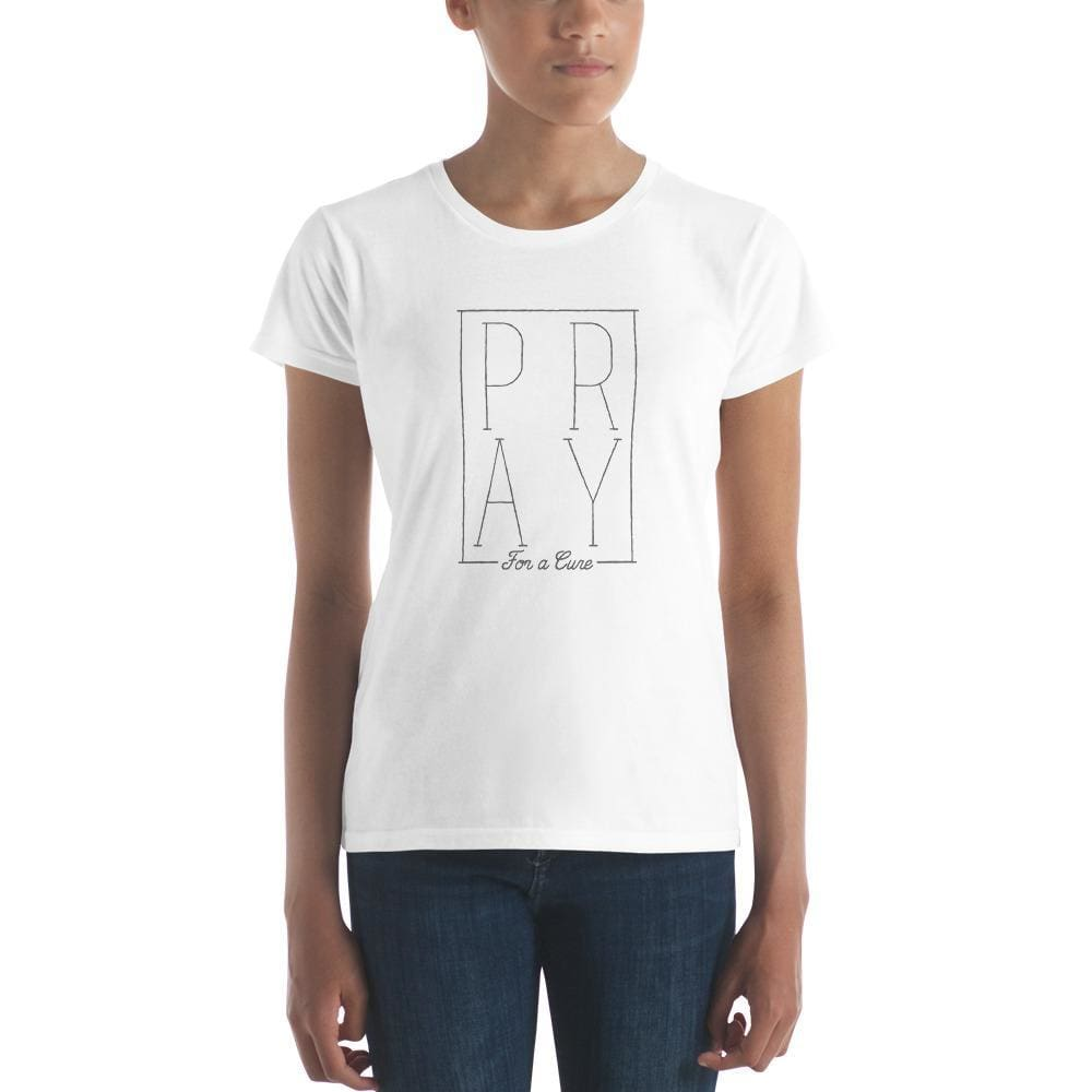 Womens Pray for a Cure Christian T-Shirt - S / White - T-Shirts