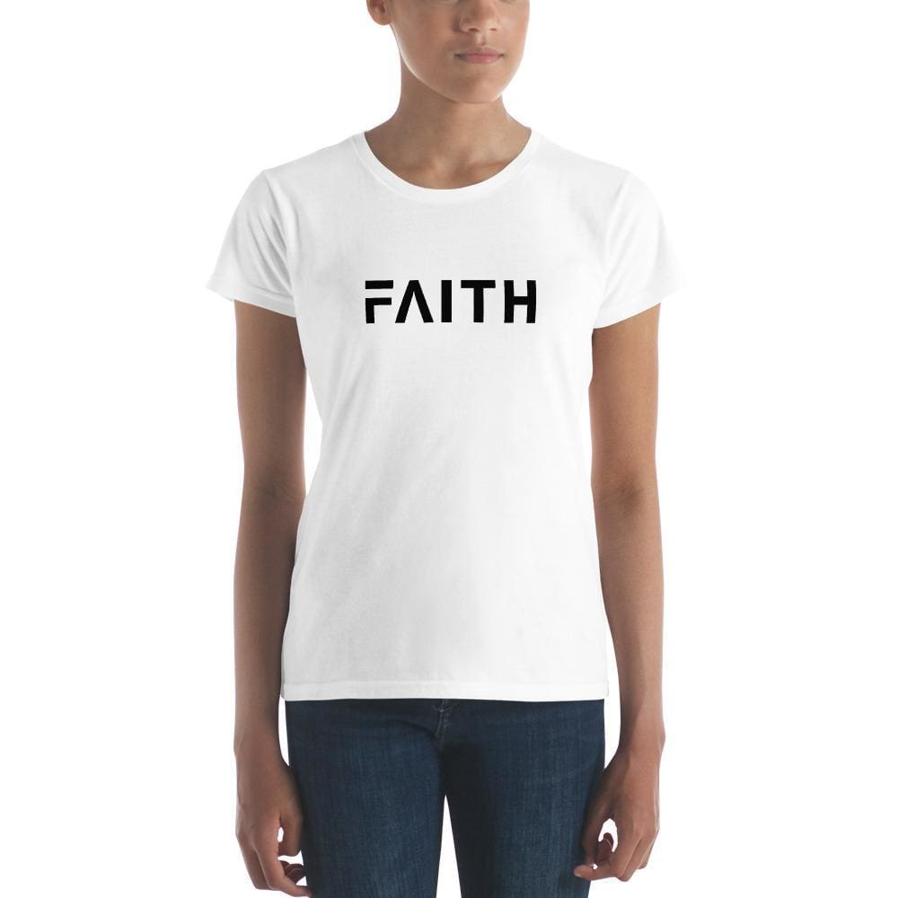 Load image into Gallery viewer, Womens Simple Faith Christian Short Sleeve T-Shirt - S / White - T-Shirts