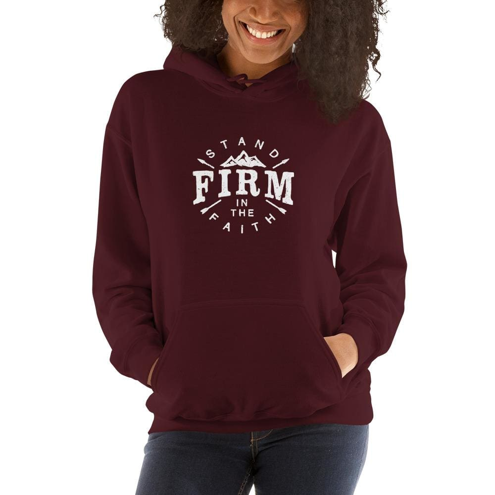 Womens Stand Firm in the Faith Hoodie Sweatshirt - S / Maroon - Sweatshirts