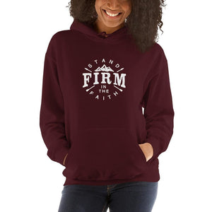 Load image into Gallery viewer, Womens Stand Firm in the Faith Hoodie Sweatshirt - S / Maroon - Sweatshirts