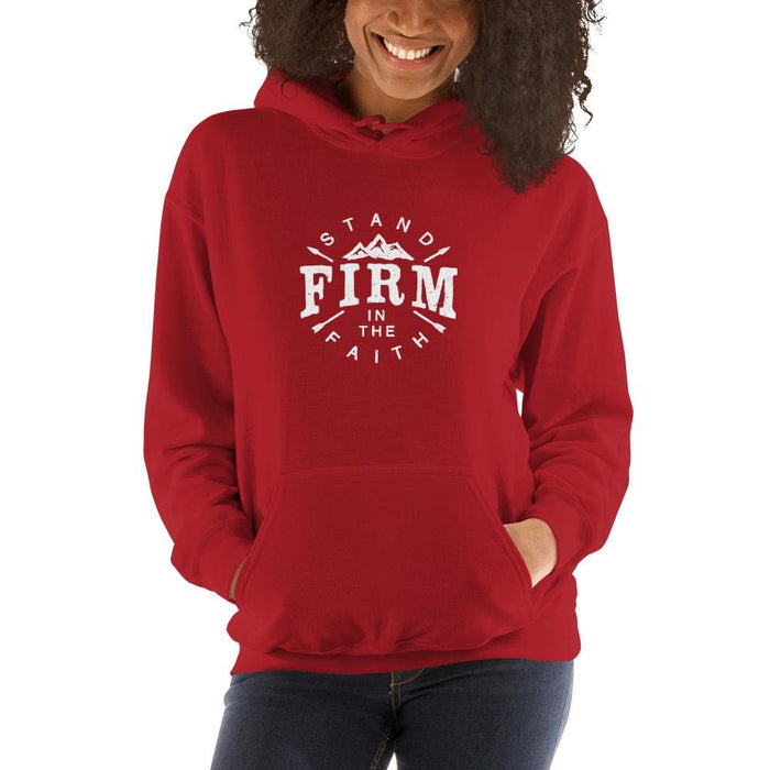 Womens Stand Firm in the Faith Hoodie Sweatshirt - S / Red - Sweatshirts