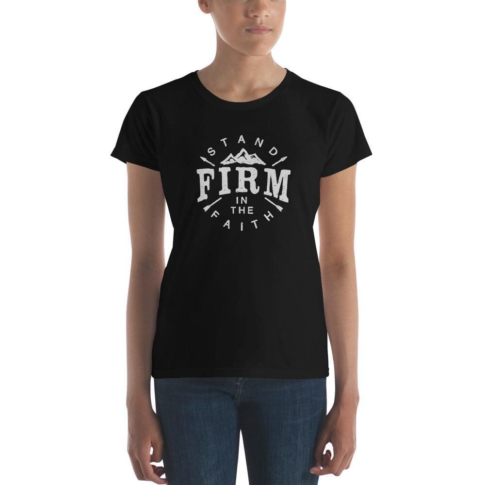 Load image into Gallery viewer, Womens Stand Firm in the Faith T-Shirt - S / Black - T-Shirts