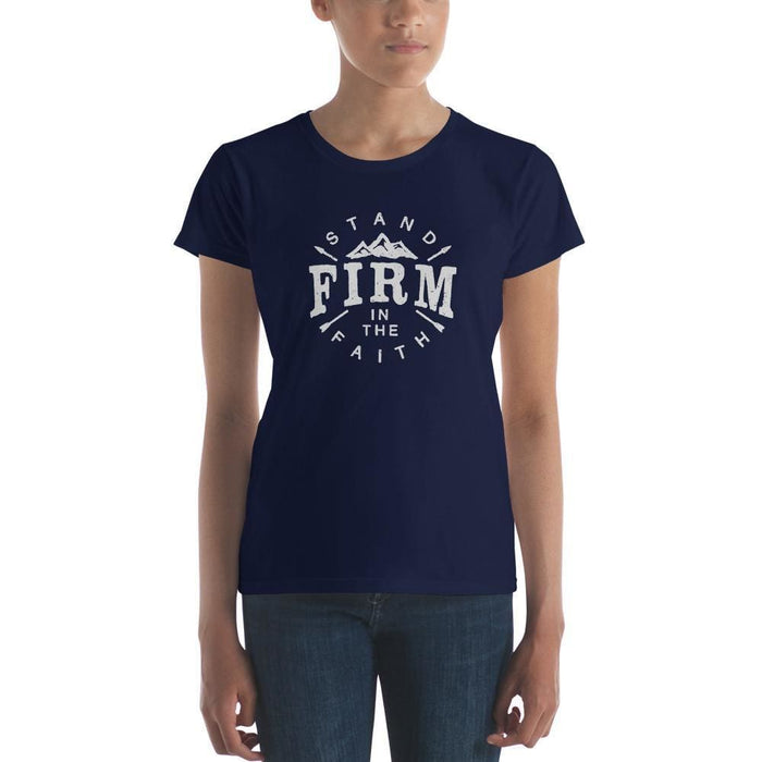 Womens Stand Firm in the Faith T-Shirt - S / Navy - T-Shirts