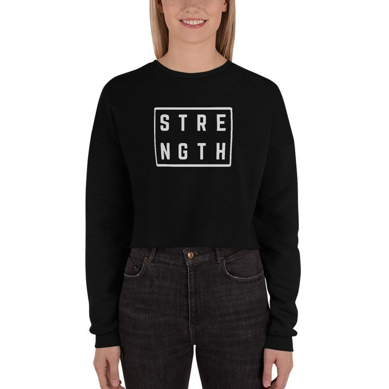 Womens Strength Crewneck Crop Sweatshirt - S / Black - Sweatshirts