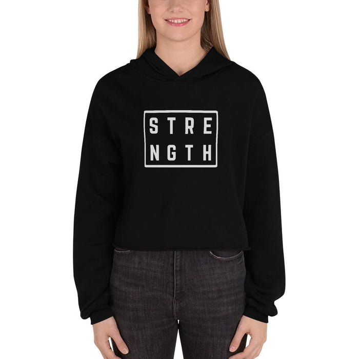Womens Strength Crop Hoodie Sweatshirt - S / Black - Sweatshirts