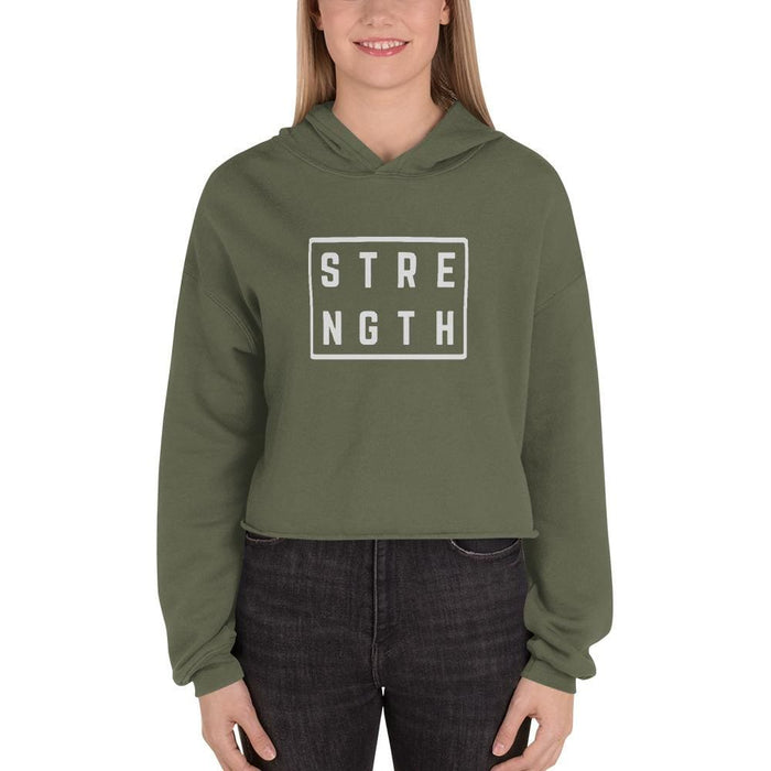 Womens Strength Crop Hoodie Sweatshirt - S / Military Green - Sweatshirts