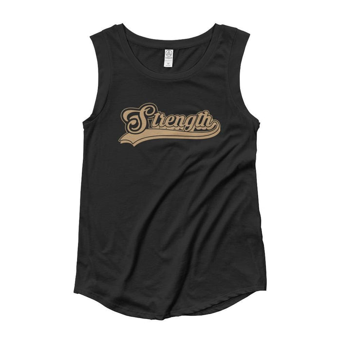 Womens Strength Cursive Muscle Tank Top (Gold Print) - S / Black - Tank Tops