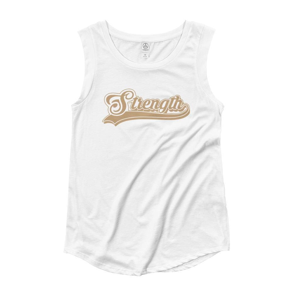 Womens Strength Cursive Muscle Tank Top (Gold Print) - S / White - Tank Tops