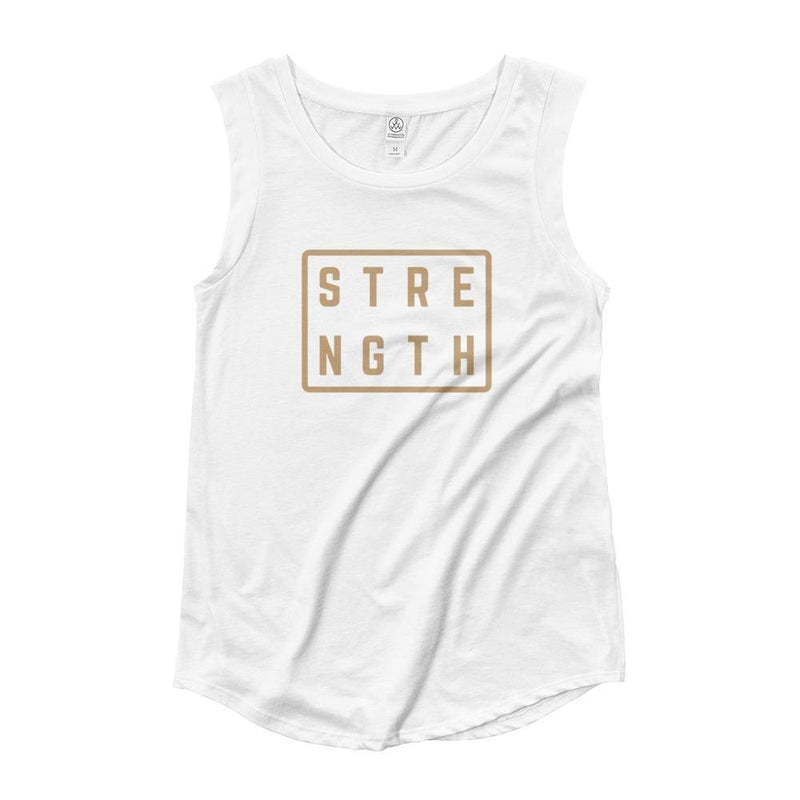 Womens Strength Muscle Tank Top (Gold Print) - S / White - Tank Tops