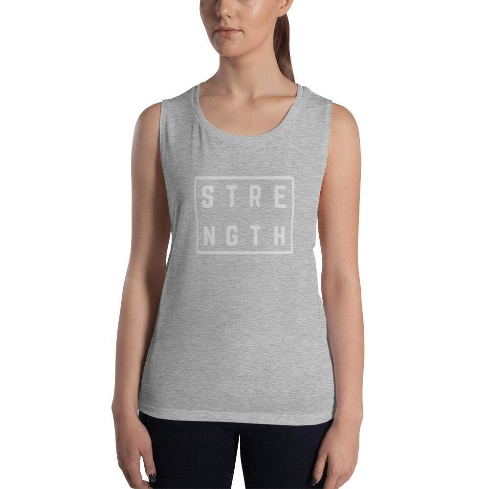 Womens Strength Muscle Tank Top (Low Cut Arm Holes) - S / Athletic Heather - Tank Tops