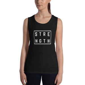 Womens Strength Muscle Tank Top (Low Cut Arm Holes) - S / Black Heather - Tank Tops