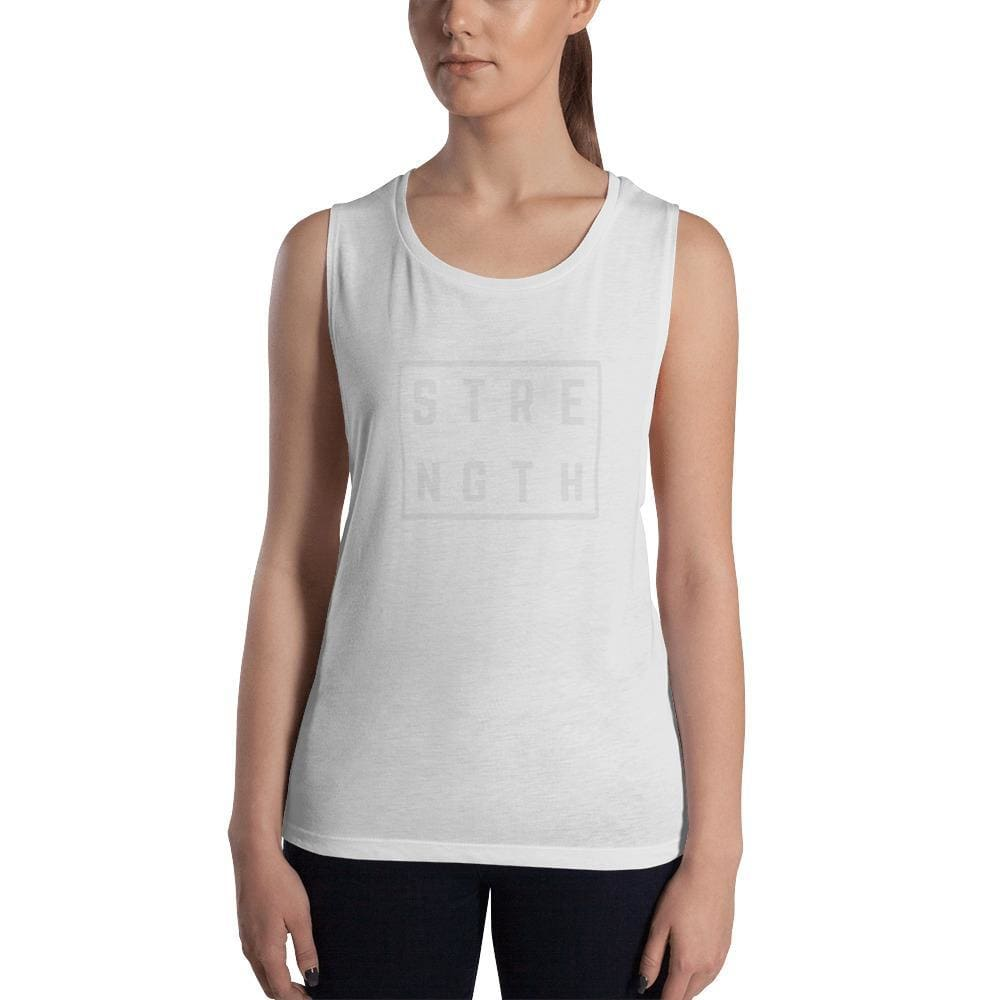 Womens Strength Muscle Tank Top (Low Cut Arm Holes) - S / White - Tank Tops
