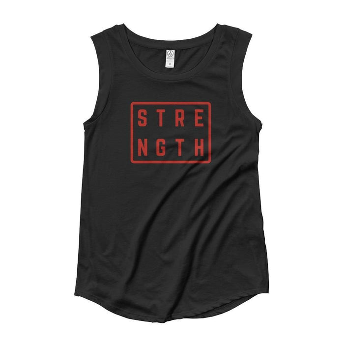 Womens Strength Muscle Tank Top (Red Print) - S / Black - Tank Tops