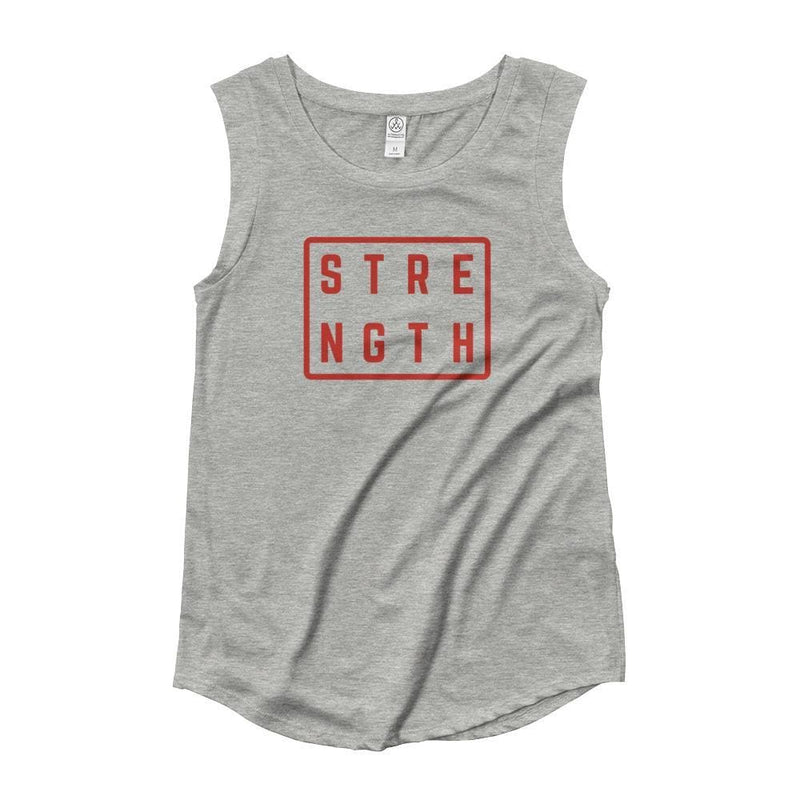 Womens Strength Muscle Tank Top (Red Print) - S / Heather Grey - Tank Tops