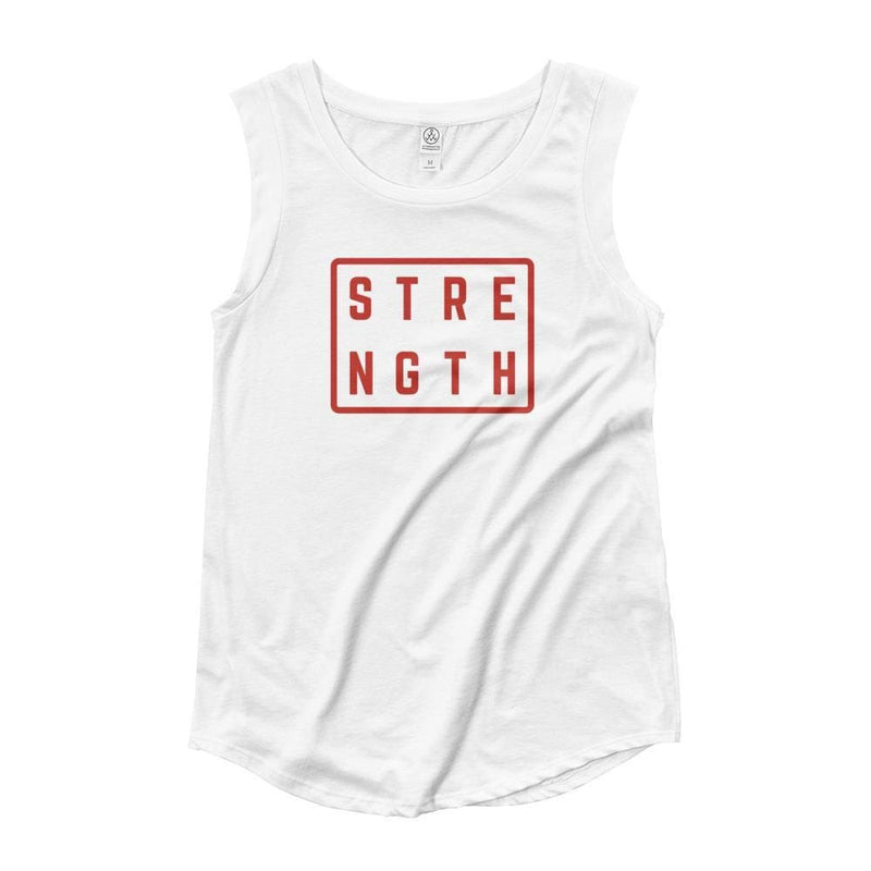 Womens Strength Muscle Tank Top (Red Print) - S / White - Tank Tops