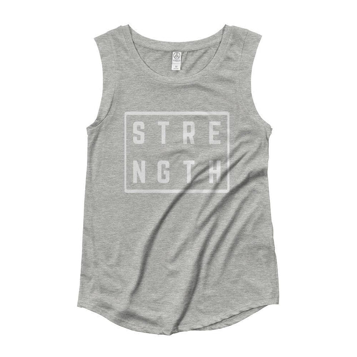 Womens Strength Square Muscle Tank Top - S / Heather Grey - Tank Tops
