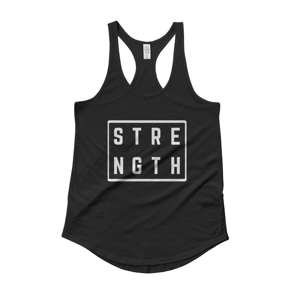 Womens Strength Square Racerback Tank Top - S / Black - Tank Tops