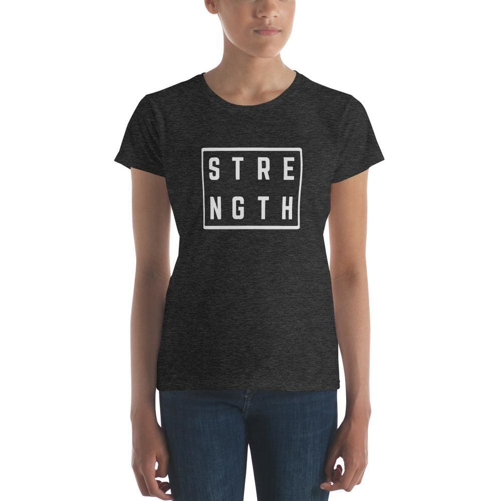 Womens Strength Square T-Shirt - S / Heather Dark Grey - T-Shirts