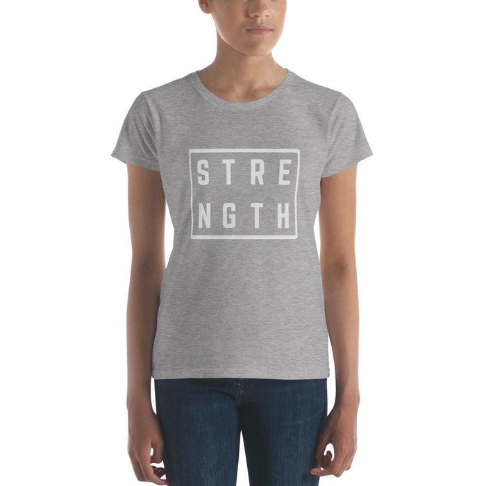 Womens Strength Square T-Shirt - S / Heather Grey - T-Shirts