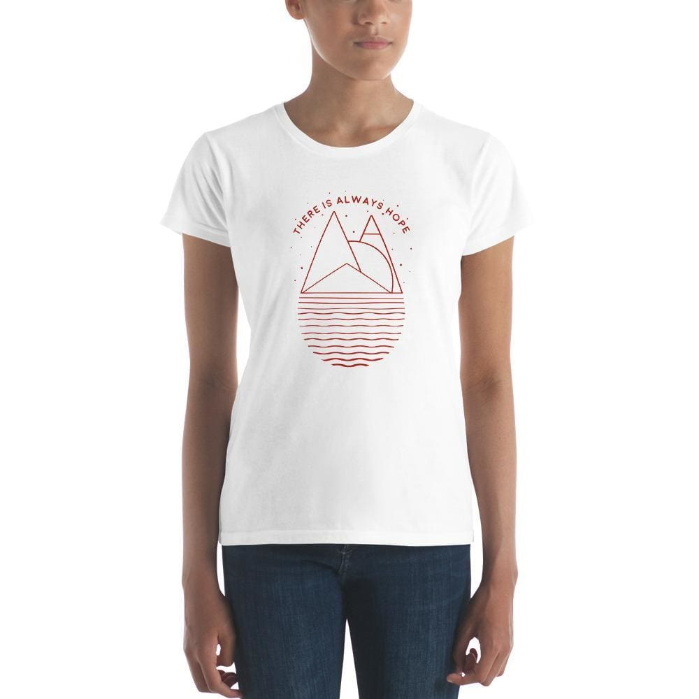 Womens There is Always Hope short sleeve t-shirt (Red Print) - S / White - T-Shirts