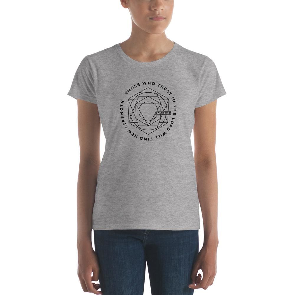 Womens Those Who Trust in the Lord Will Find New Strength Christian T-Shirt (Black Print) - S / Heather Grey - T-Shirts