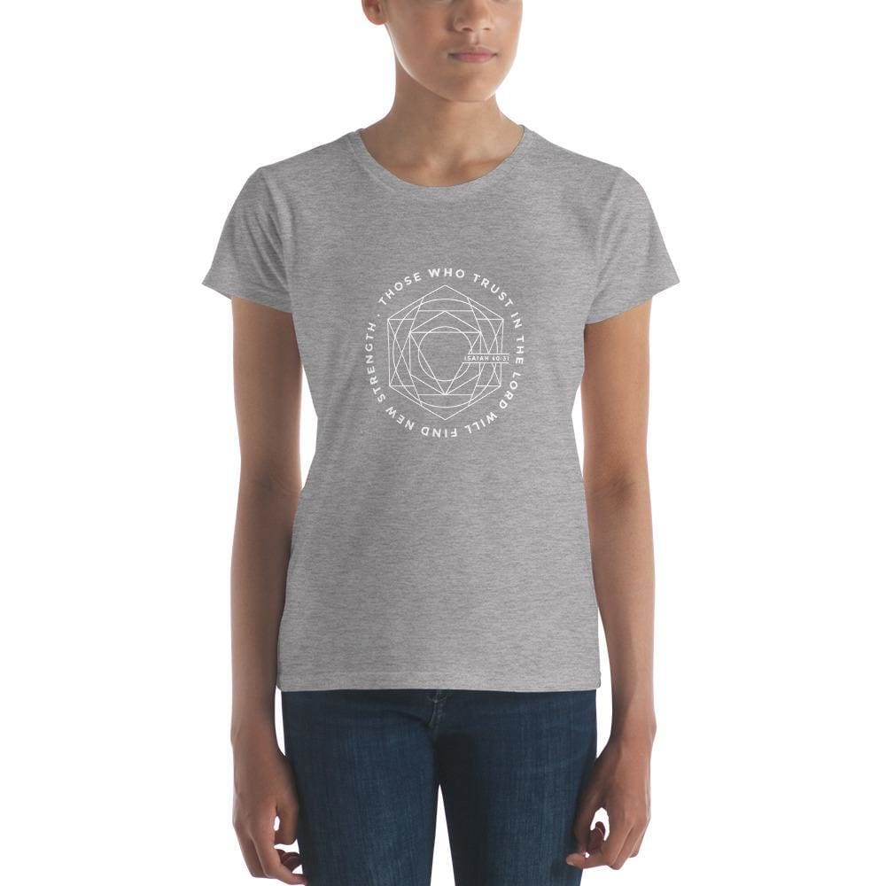 Womens Those Who Trust in the Lord Will Find New Strength Christian T-Shirt (White Print) - S / Heather Grey - T-Shirts