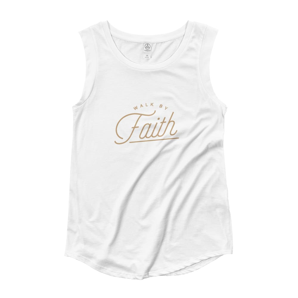 Load image into Gallery viewer, Womens Walk by Faith Muscle Tank Top - S / White - Tank Tops