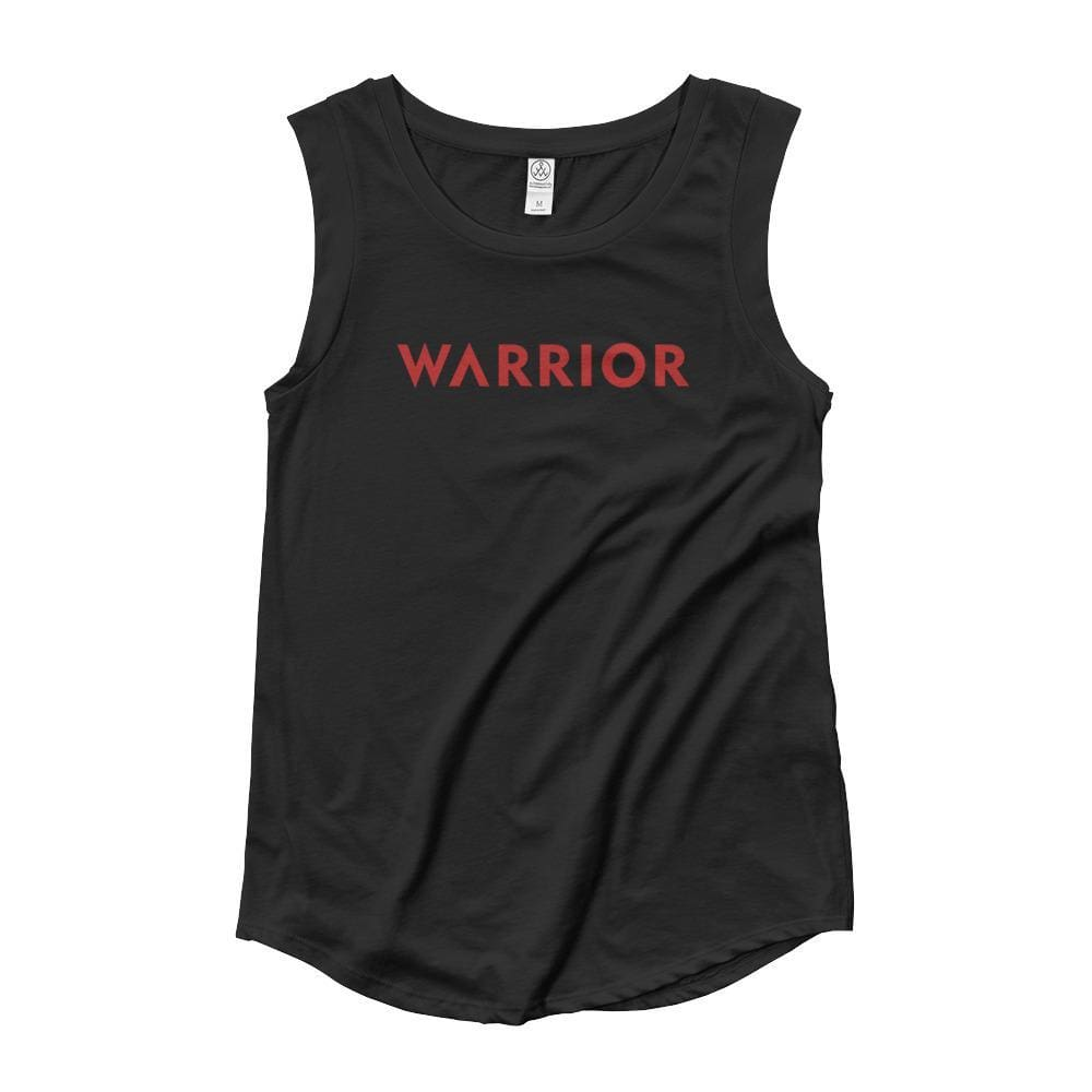 Load image into Gallery viewer, Womens Warrior Muscle Tank Top (Red Print) - S / Black - Tank Tops