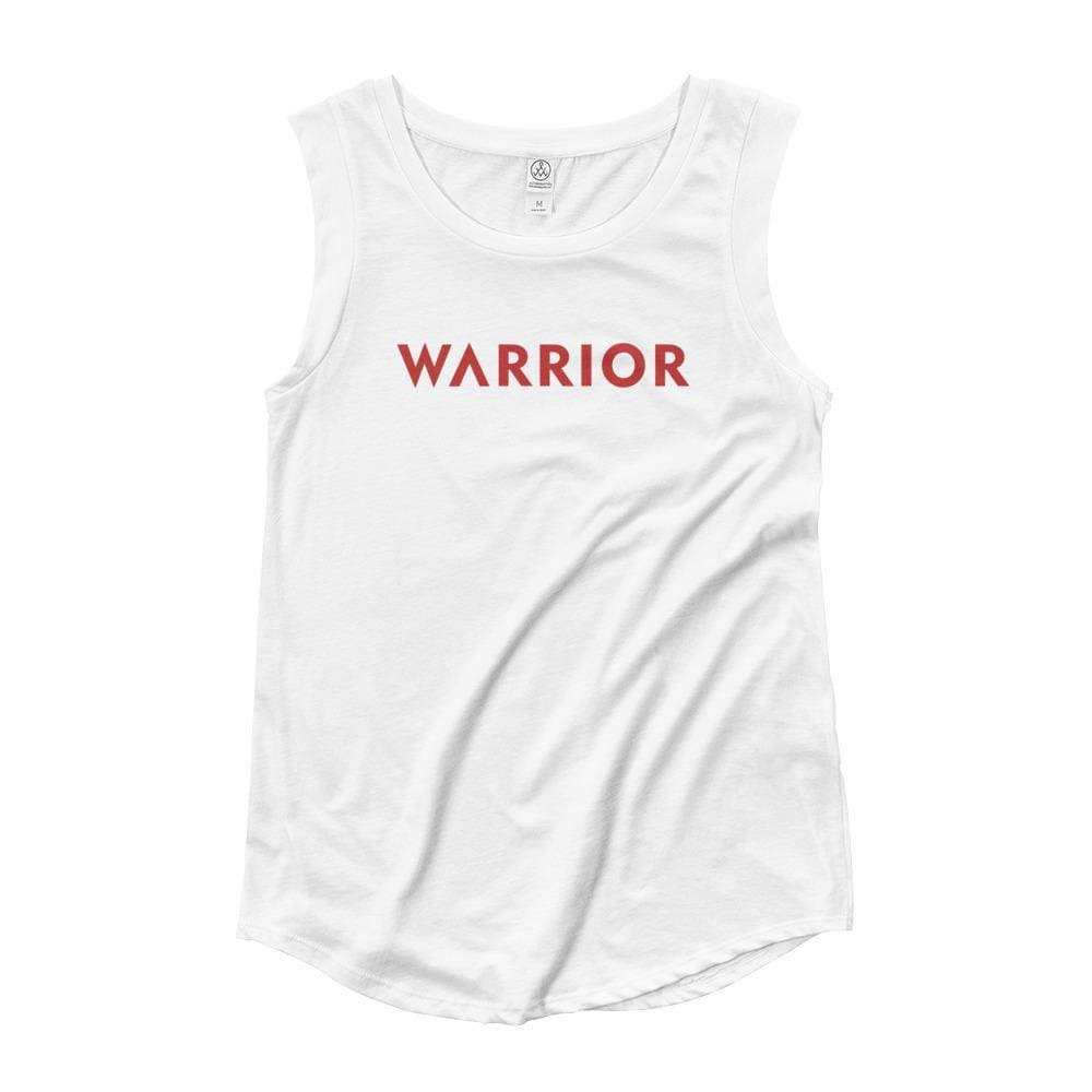 Womens Warrior Muscle Tank Top (Red Print) - S / White - Tank Tops
