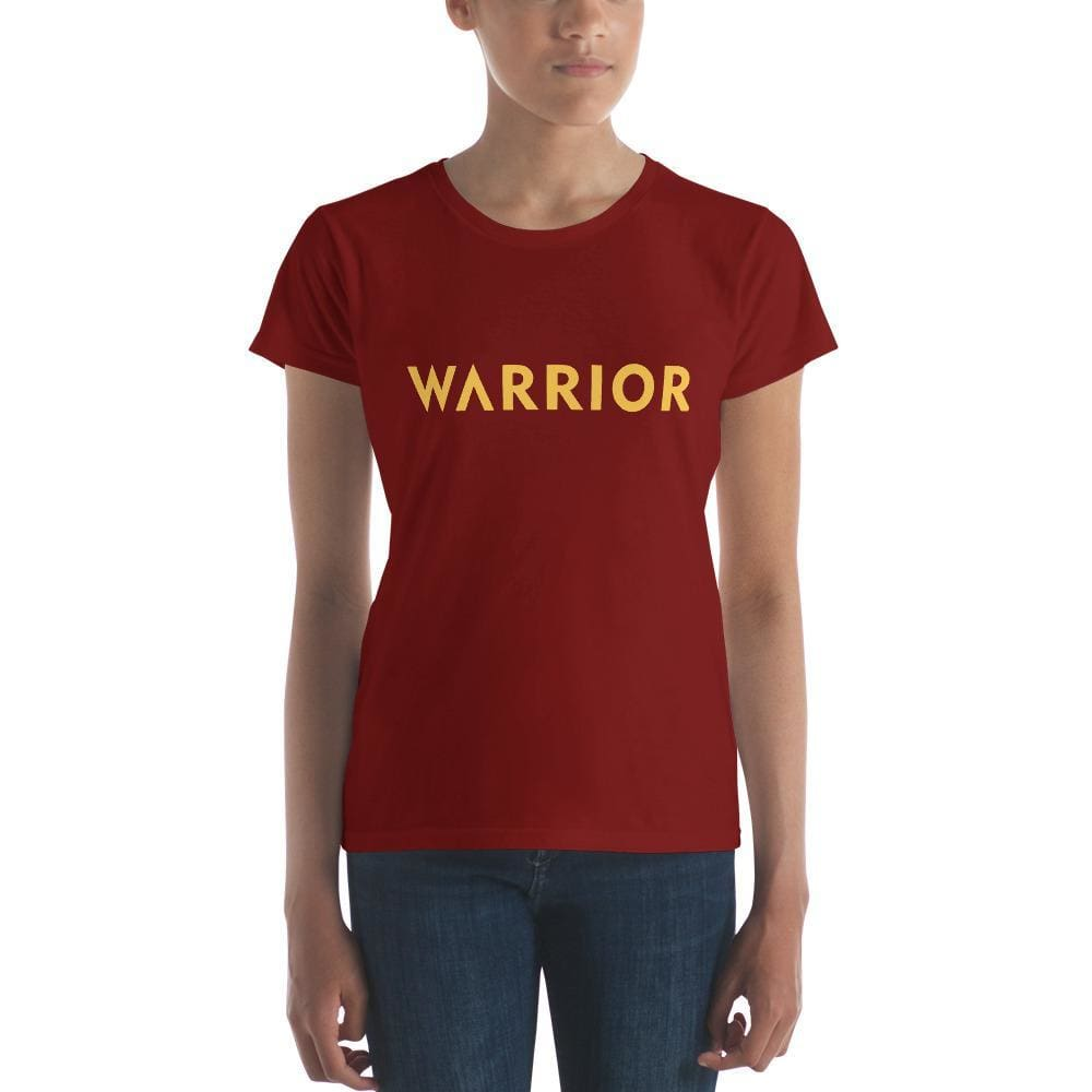 Load image into Gallery viewer, Womens Warrior Short Sleeve T-shirt (Yellow Print) - S / Independence Red - T-Shirts