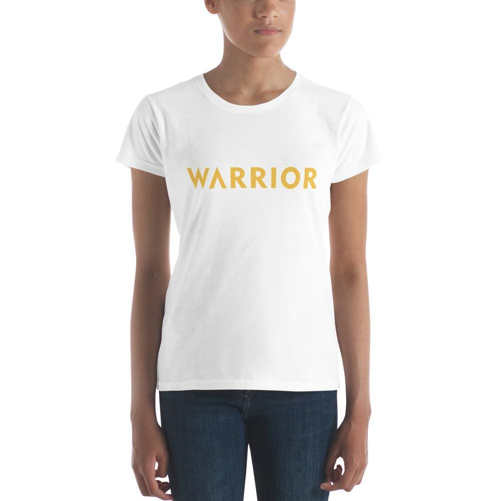 Womens Warrior Short Sleeve T-shirt (Yellow Print) - S / White - T-Shirts
