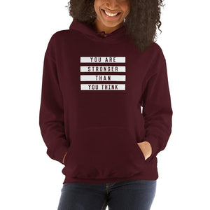 Womens You are Stronger than You Think Hoodie Sweatshirt - S / Maroon - Sweatshirts
