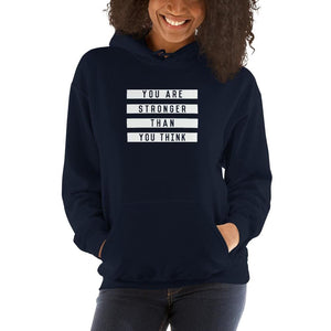 Womens You are Stronger than You Think Hoodie Sweatshirt - S / Navy - Sweatshirts
