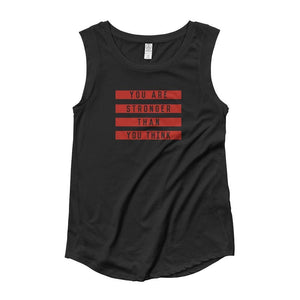 Womens You are Stronger Than You Think Muscle Tank Top (Red Print) - S / Black - Tank Tops