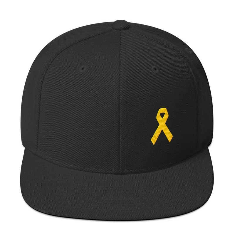Yellow Awareness Ribbon Flat Brim Snapback Hat for Sarcoma Suicide Prevention & Military Causes - One-size / Black - Hats