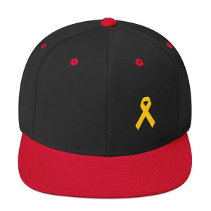 Yellow Awareness Ribbon Flat Brim Snapback Hat for Sarcoma Suicide Prevention & Military Causes - One-size / Black/ Red - Hats