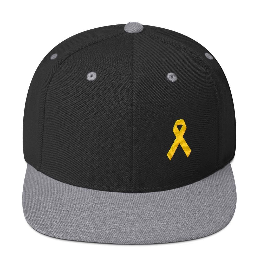 Yellow Awareness Ribbon Flat Brim Snapback Hat for Sarcoma Suicide Prevention & Military Causes - One-size / Black/ Silver - Hats