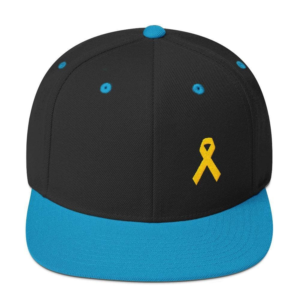 Yellow Awareness Ribbon Flat Brim Snapback Hat for Sarcoma Suicide Prevention & Military Causes - One-size / Black/ Teal - Hats