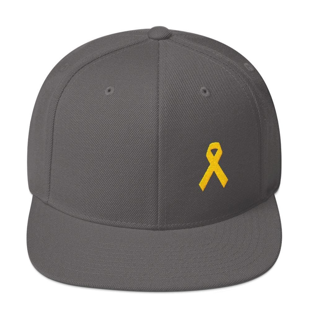 Yellow Awareness Ribbon Flat Brim Snapback Hat for Sarcoma Suicide Prevention & Military Causes - One-size / Dark Grey - Hats