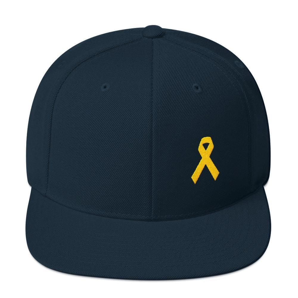 Yellow Awareness Ribbon Flat Brim Snapback Hat for Sarcoma Suicide Prevention & Military Causes - One-size / Dark Navy - Hats