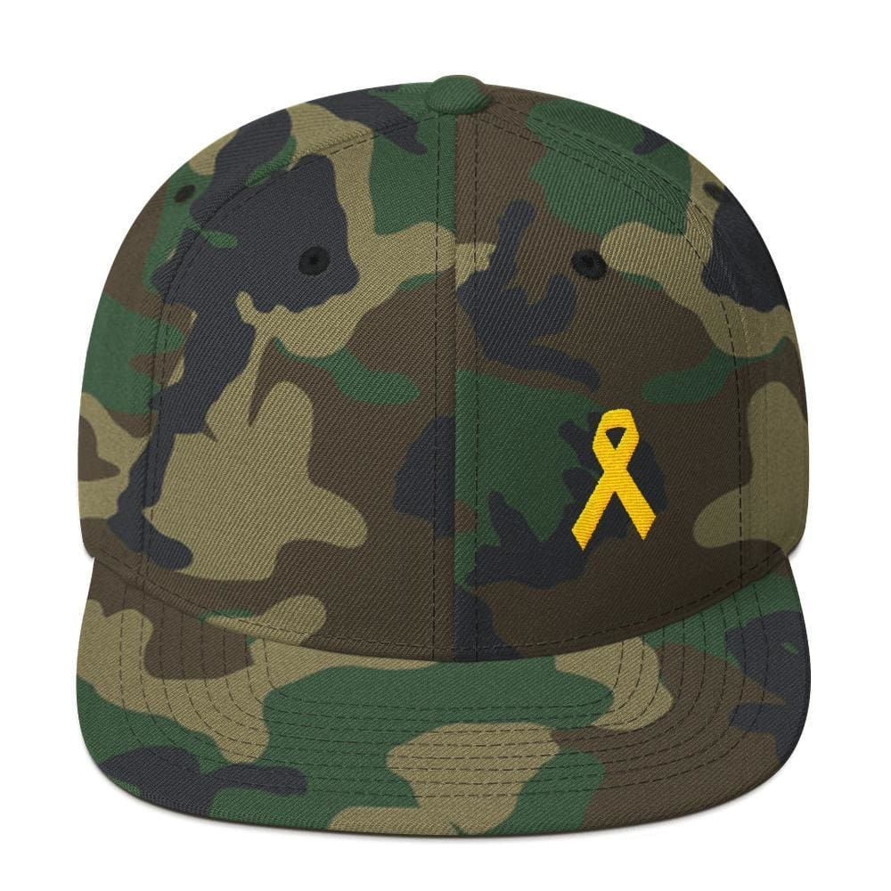 Yellow Awareness Ribbon Flat Brim Snapback Hat for Sarcoma Suicide Prevention & Military Causes - One-size / Green Camo - Hats