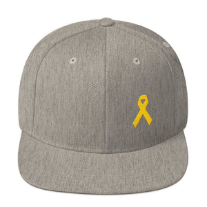 Yellow Awareness Ribbon Flat Brim Snapback Hat for Sarcoma Suicide Prevention & Military Causes - One-size / Heather Grey - Hats