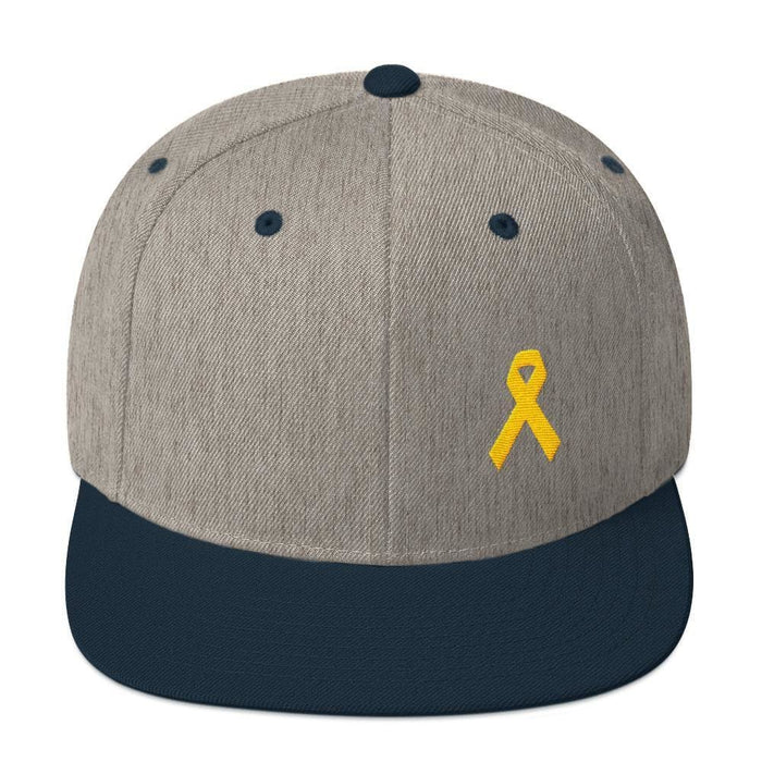 Yellow Awareness Ribbon Flat Brim Snapback Hat for Sarcoma Suicide Prevention & Military Causes - One-size / Heather Grey/ Navy - Hats
