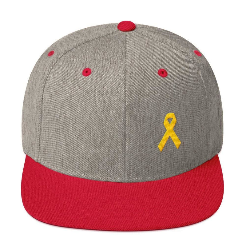 Yellow Awareness Ribbon Flat Brim Snapback Hat for Sarcoma Suicide Prevention & Military Causes - One-size / Heather Grey/ Red - Hats