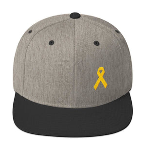 Yellow Awareness Ribbon Flat Brim Snapback Hat for Sarcoma Suicide Prevention & Military Causes - One-size / Heather/Black - Hats