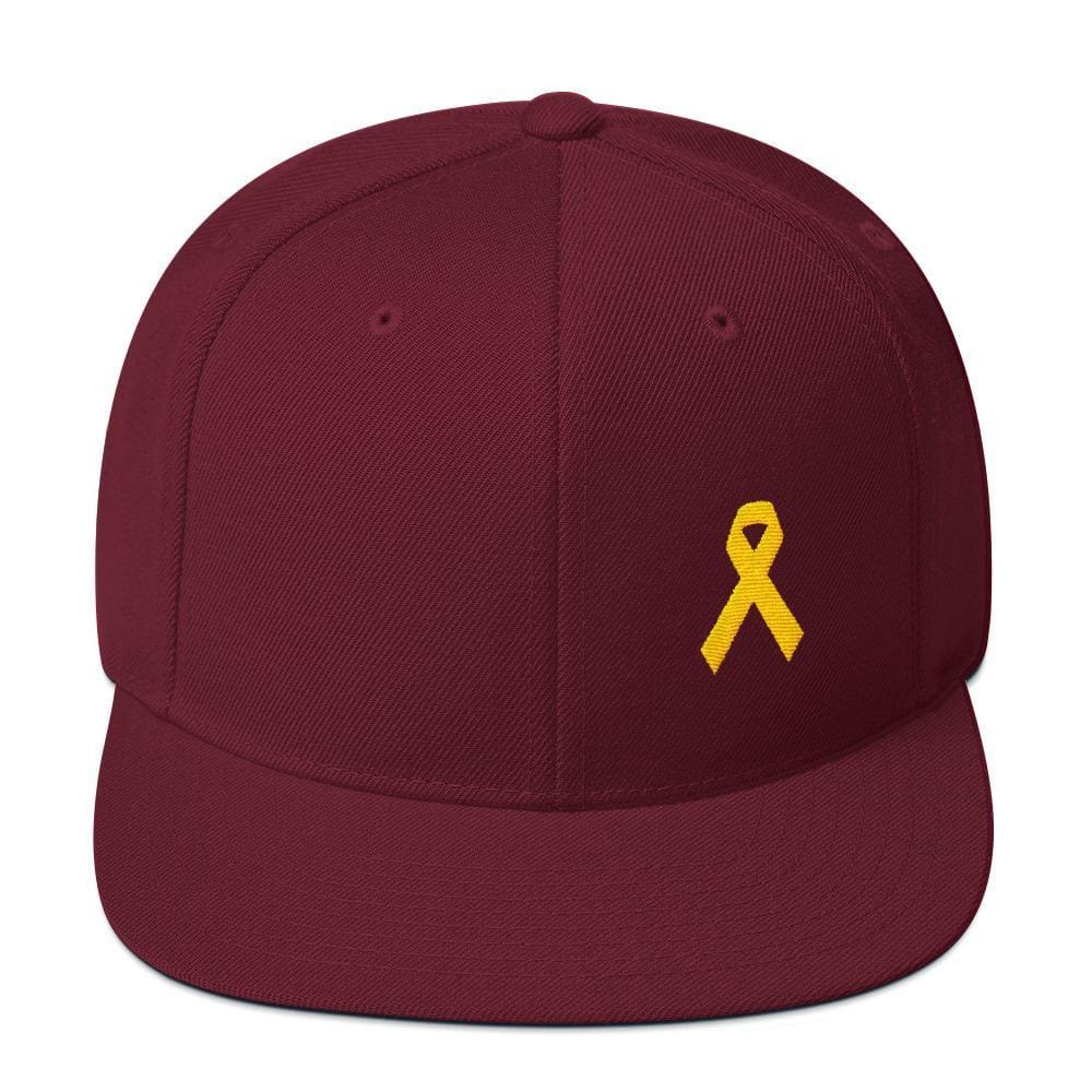 Yellow Awareness Ribbon Flat Brim Snapback Hat for Sarcoma Suicide Prevention & Military Causes - One-size / Maroon - Hats