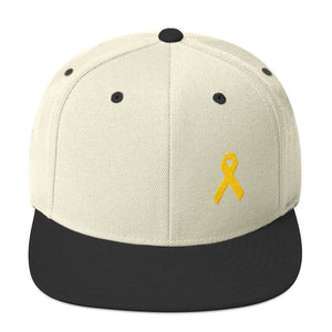 Yellow Awareness Ribbon Flat Brim Snapback Hat for Sarcoma Suicide Prevention & Military Causes - One-size / Natural/ Black - Hats