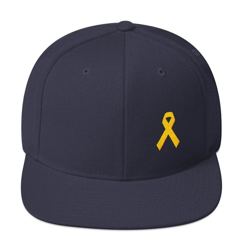 Yellow Awareness Ribbon Flat Brim Snapback Hat for Sarcoma Suicide Prevention & Military Causes - One-size / Navy - Hats